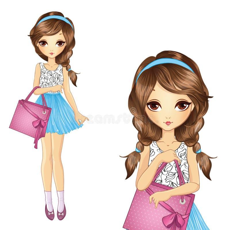 Девушка с ходя по магазинам розовой сумкой иллюстрация вектора