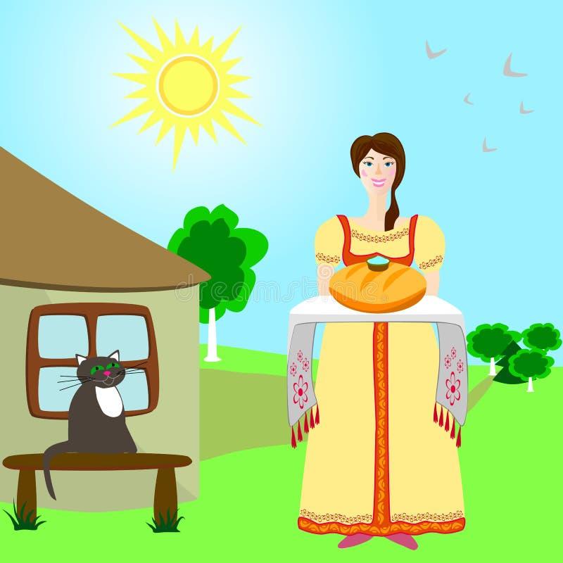 Девушка с хлебом и солью стоковая фотография rf