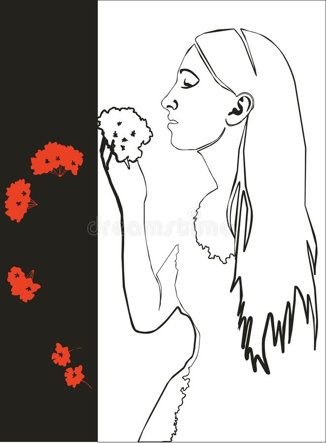 Девушка с цветком в черноте 03 иллюстрация вектора