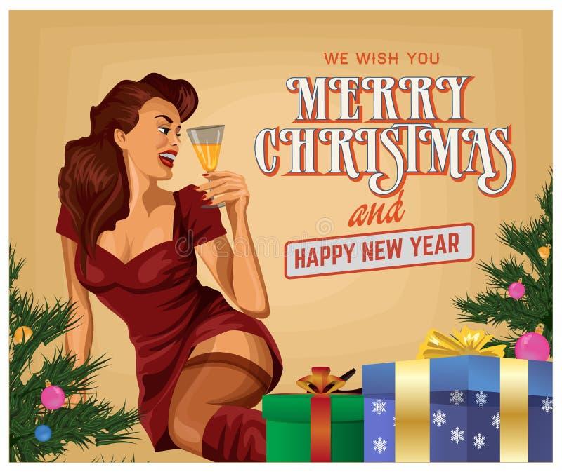 Девушка с шампанским, счастливый Новый Год рождества pin-вверх, иллюстрация вектора иллюстрация штока
