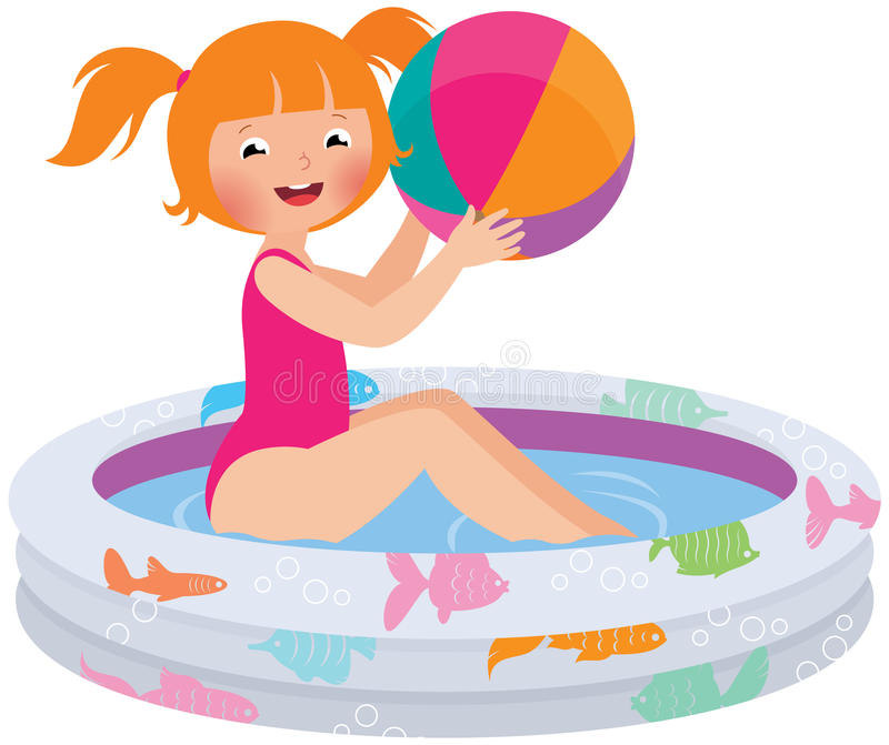 Девушка с шариком в раздувном бассейне иллюстрация вектора