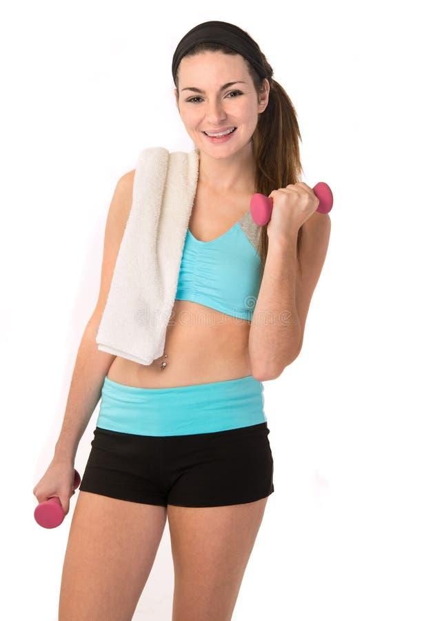 Девушка с шестерней фитнеса стоковое изображение