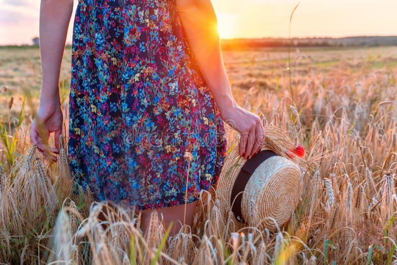 Девушка с шляпой в поле стоковые изображения