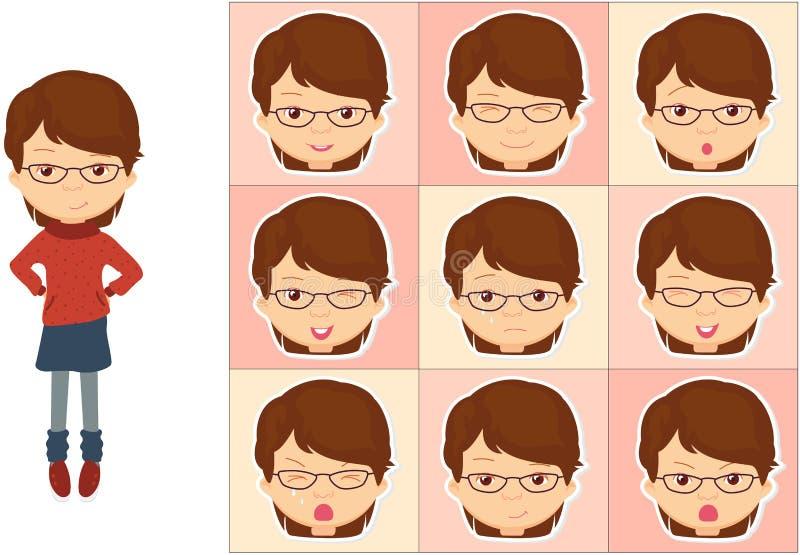 Девушка с эмоциями стекел: утеха, сюрприз, страх, тоскливость, скорба бесплатная иллюстрация