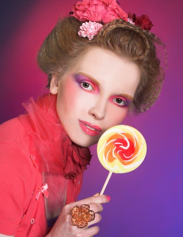 Download Девушка с Lollipop стоковое изображение. изображение насчитывающей праздник - 40581591