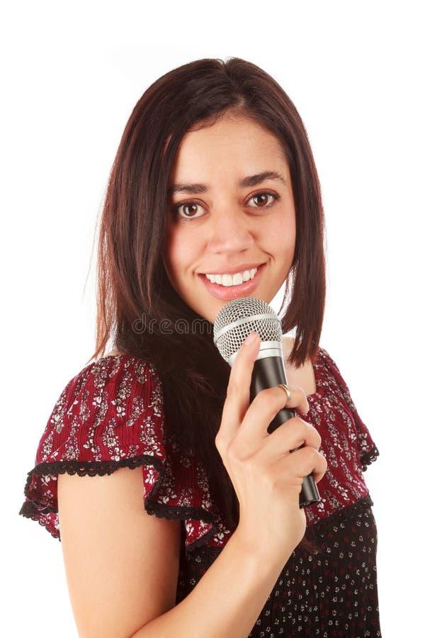 Девушка с mic в белизне стоковые фотографии rf