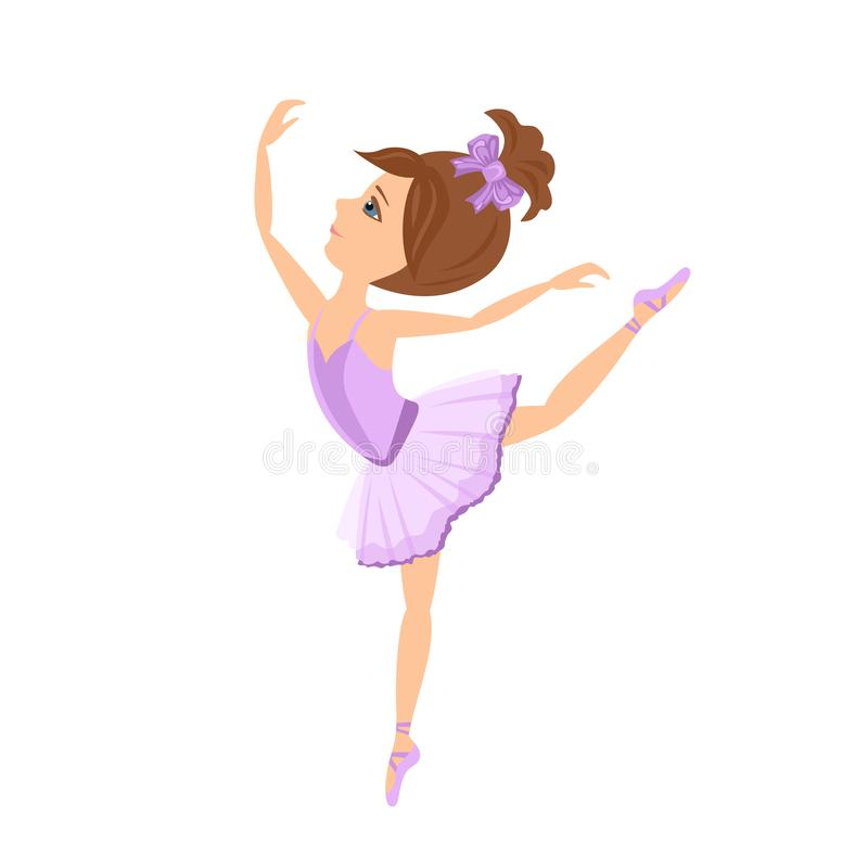 Девушка танцев Молодая балерина в фиолете изолированном на белой предпосылке бесплатная иллюстрация