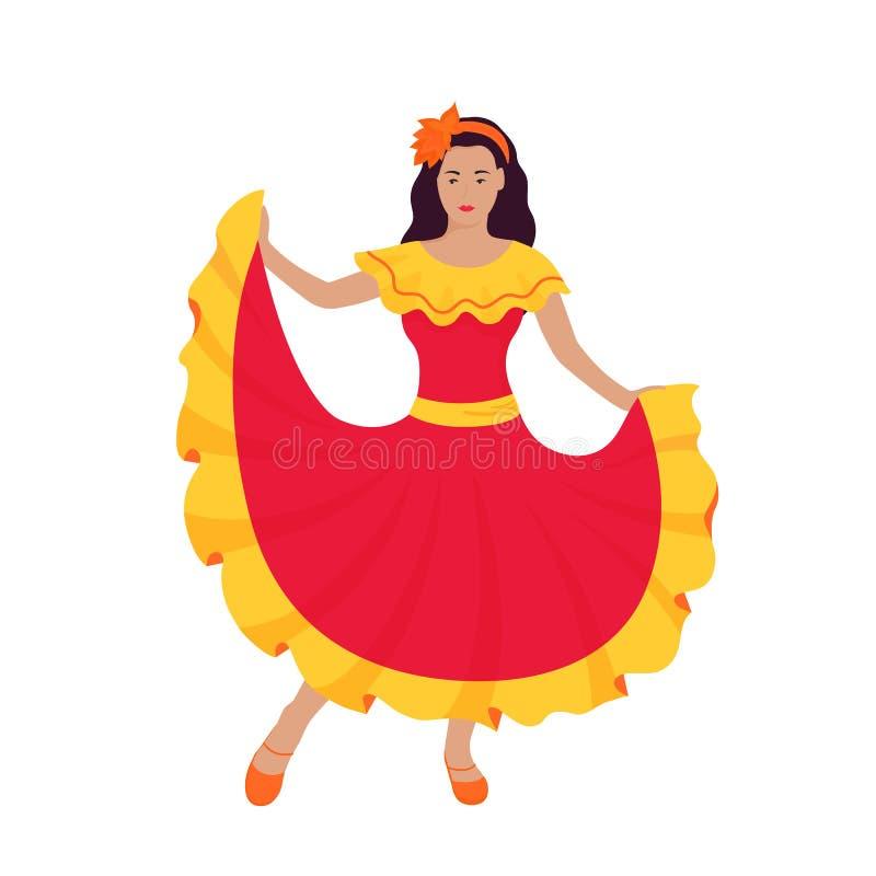 Девушка танцует в мексиканском ярком красном традиционном платье Cinco de mayo, праздник бесплатная иллюстрация