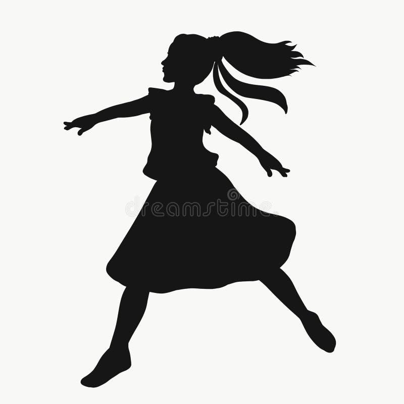 Девушка танцует и делает перескакивание иллюстрация вектора
