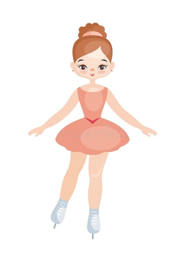 Девушка танцы фигуриста иллюстрация вектора