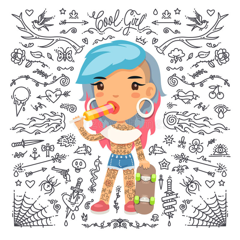 Девушка татуировки шаржа милая с скейтбордом иллюстрация штока
