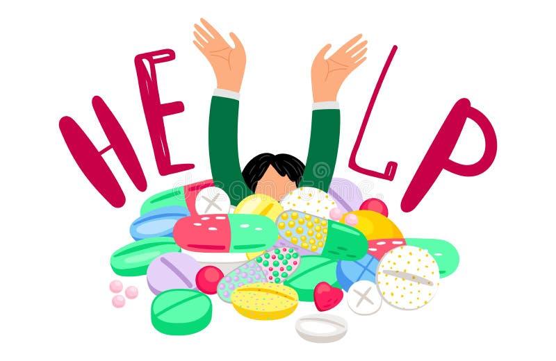Девушка тонет в таблетках иллюстрация штока