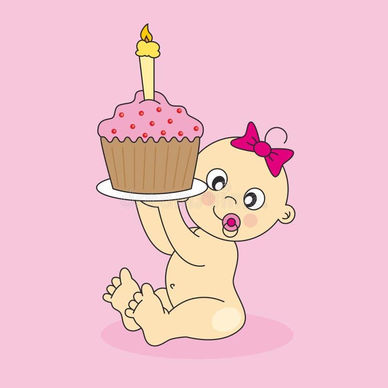 девушка торта младенца иллюстрация вектора