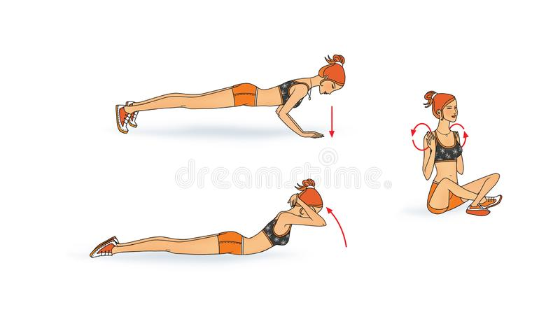 Девушка тренирует мышцы груди девушка лежит, сидит, скрутила вне r иллюстрация вектора