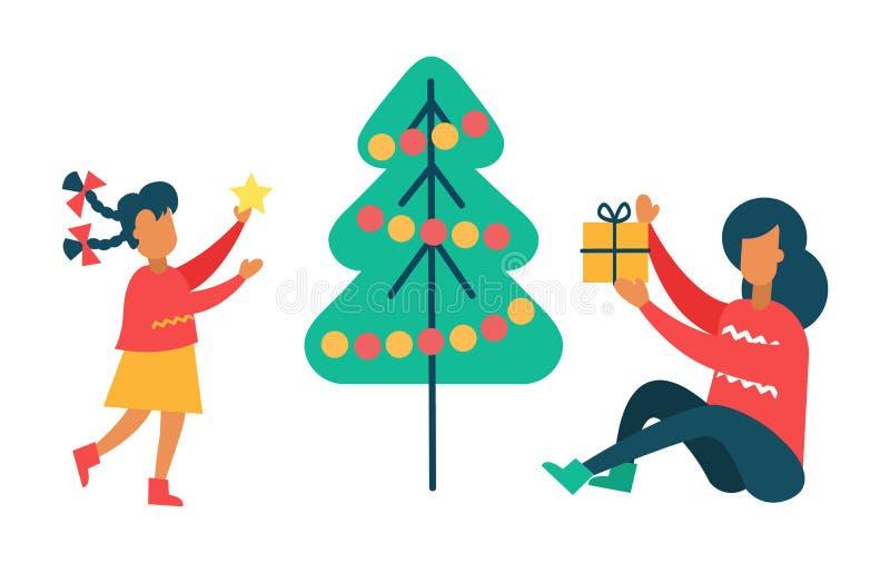 Девушка украшает дерево Нового Года, подарок настоящих моментов матери иллюстрация вектора