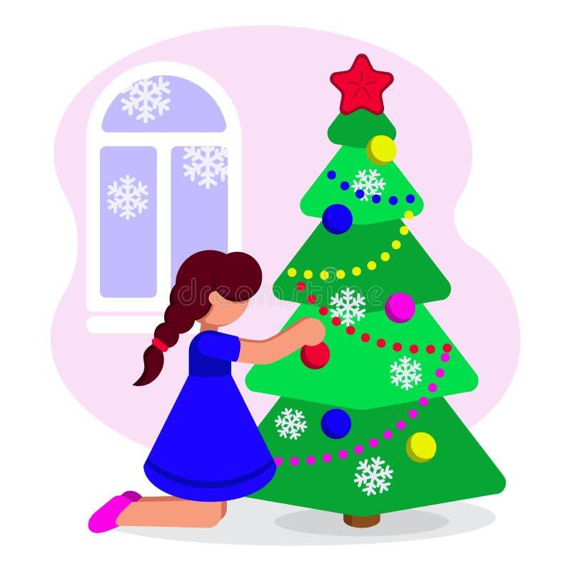 Девушка украшает рождественскую елку на праздник также вектор иллюстрации притяжки corel бесплатная иллюстрация