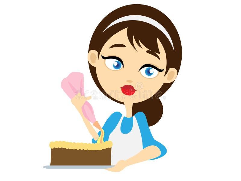Девушка украшая торт стоковая фотография rf