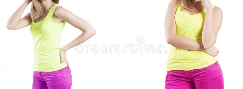 Девушка уменьшая диаграмму перед и после избыточным весом weightloss диеты стоковое фото