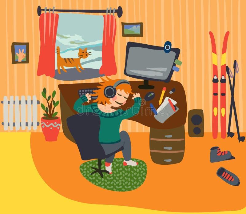 Девушка уснувшая на его столе бесплатная иллюстрация