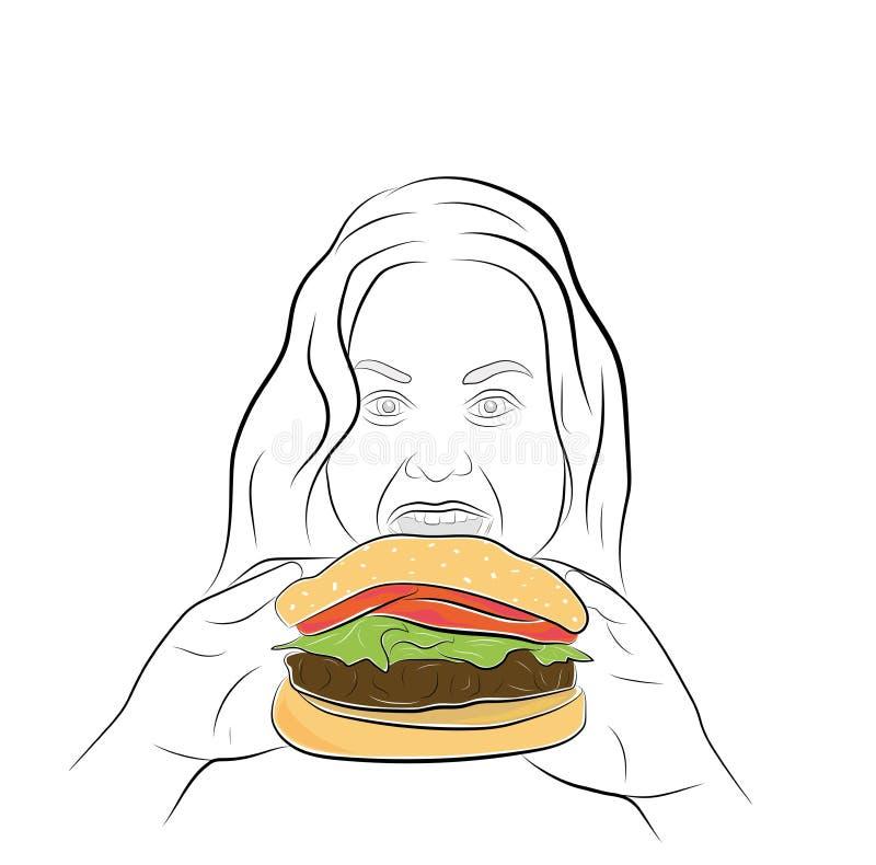 Девушка фаст-фуд проблема тучности и переедать также вектор иллюстрации притяжки corel иллюстрация вектора