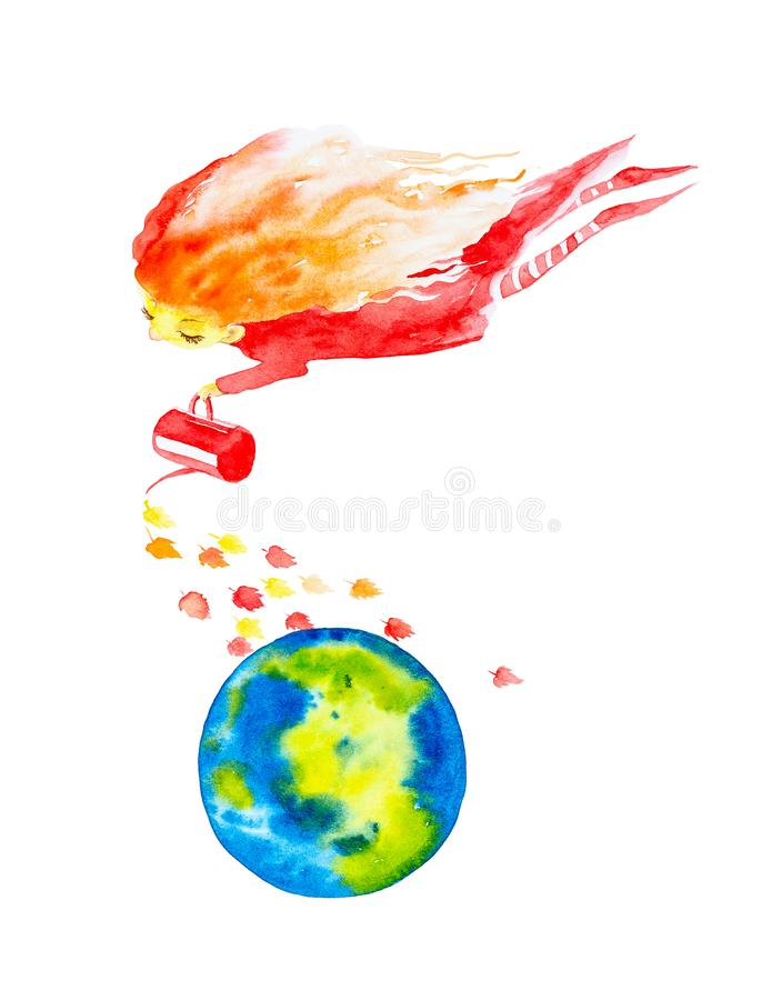 Девушка феи в красном платье и striped чулках, с превращаться в ветре красные волосы льют из волшебного чайника выходит на иллюстрация штока