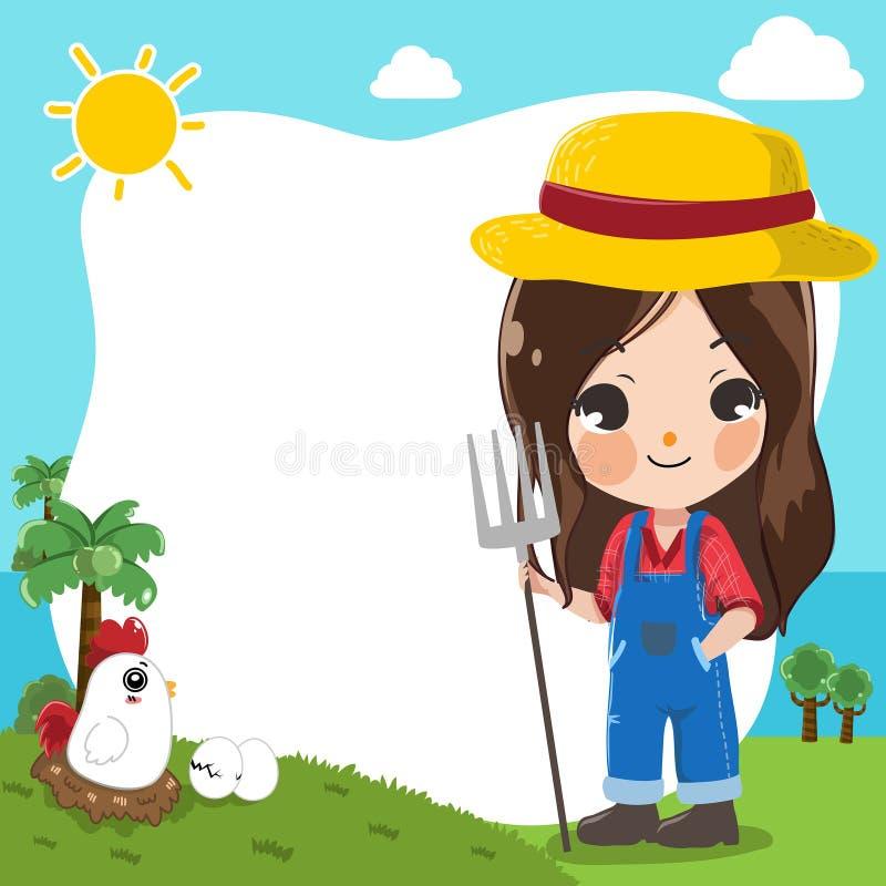 Девушка фермера милая на шаблоне в ферме бесплатная иллюстрация
