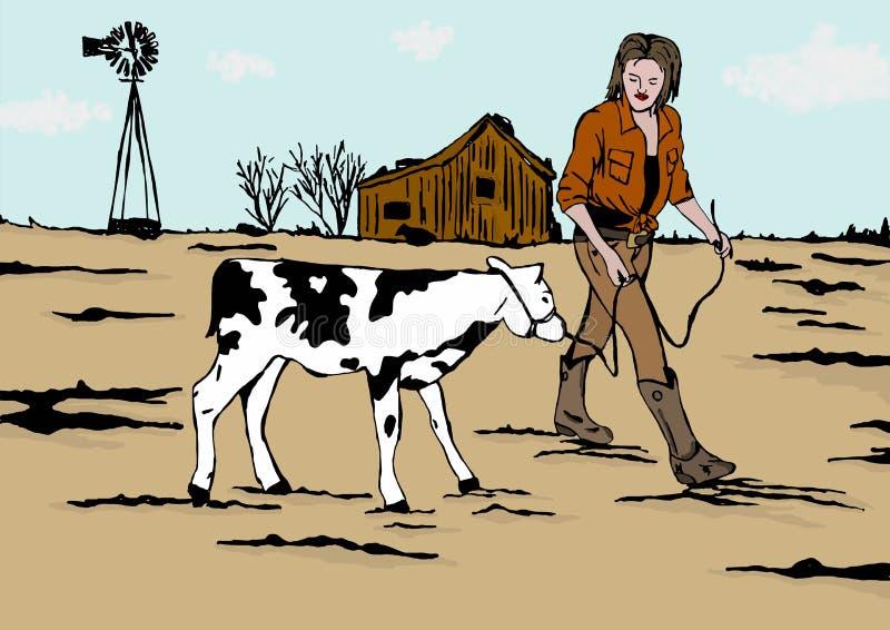 Девушка фермера иллюстрация штока