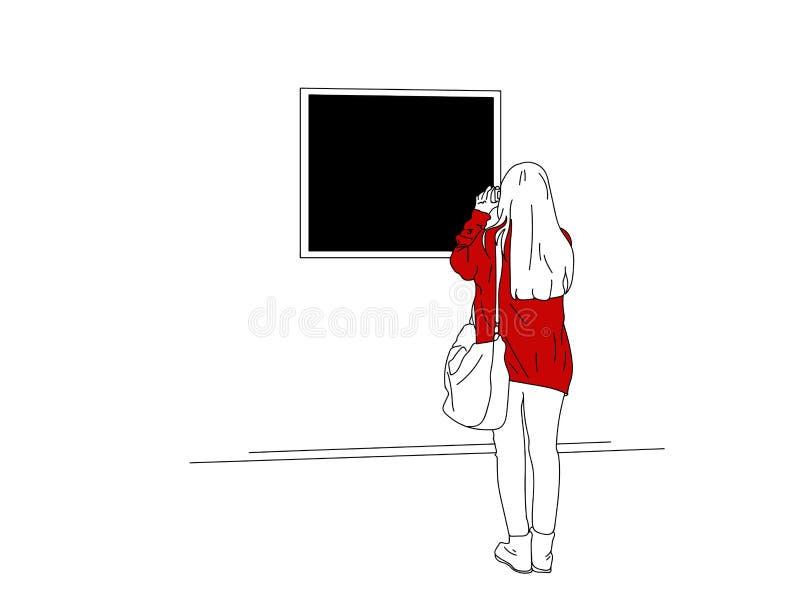 Девушка фотографирует изображение в музее стоковые фотографии rf