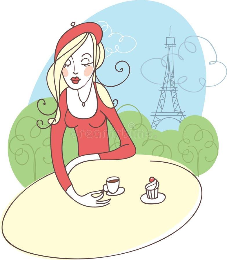 девушка франчуза кафа иллюстрация вектора