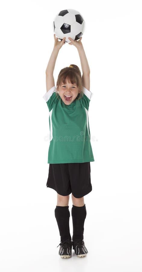 Девушка футбола на белой предпосылке стоковое изображение rf