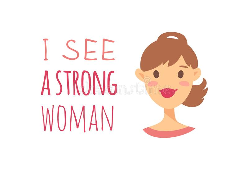 Девушка характера стиля мультфильма американская или европейская Женщины и феминизм иллюстрации вектора кавказские закавычат МЕНЯ иллюстрация вектора