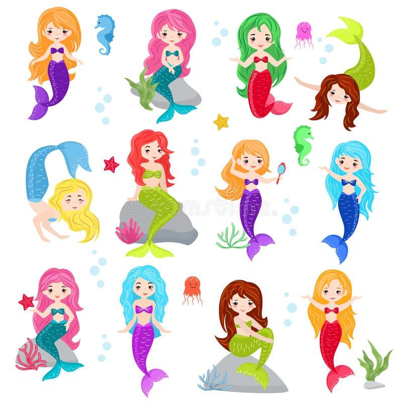 Девушка характера seamaid шаржа вектора русалки с красивым комплектом illustartion морского дна волос сказа и colorfil подводным бесплатная иллюстрация