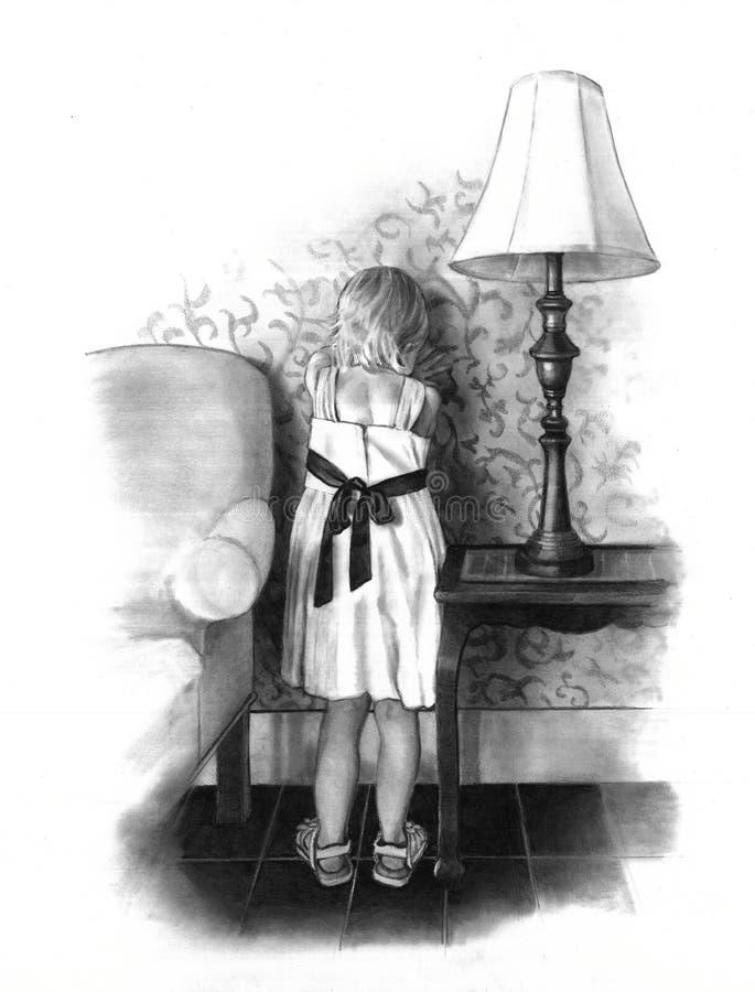 девушка цветка чертежа меньший карандаш иллюстрация вектора