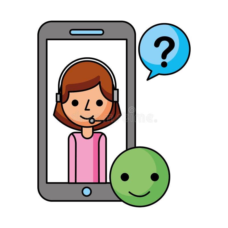 Девушка центра телефонного обслуживания в линии для помощи поддержки смартфона иллюстрация вектора