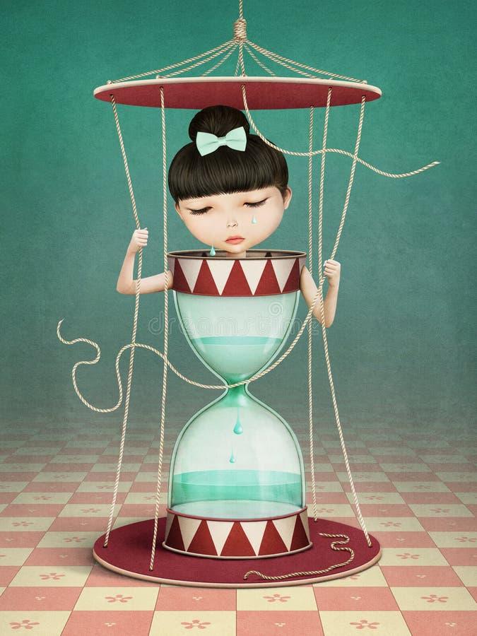 Девушка часов иллюстрация штока
