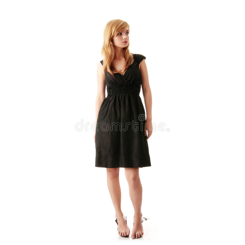девушка черного платья шикарная стоковые фото
