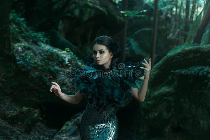 Девушка - черный ворон стоковое изображение
