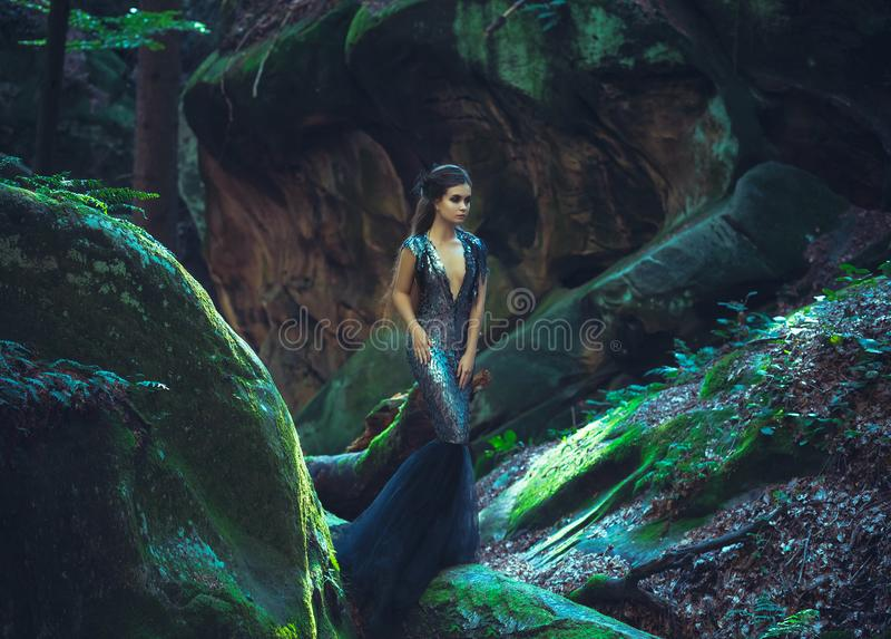 Девушка - черный ворон стоковые фотографии rf