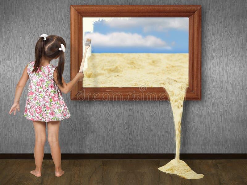 девушка чертежа меньшее изображение иллюстрация вектора