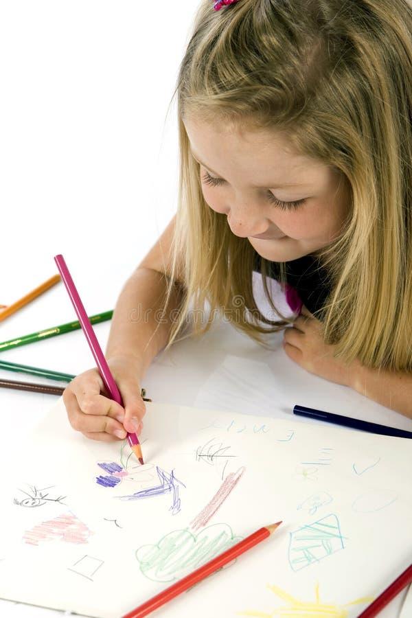 девушка чертежа стоковое фото