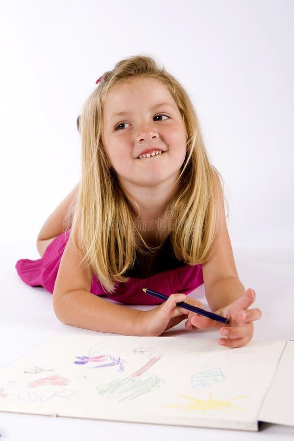 девушка чертежа стоковая фотография rf