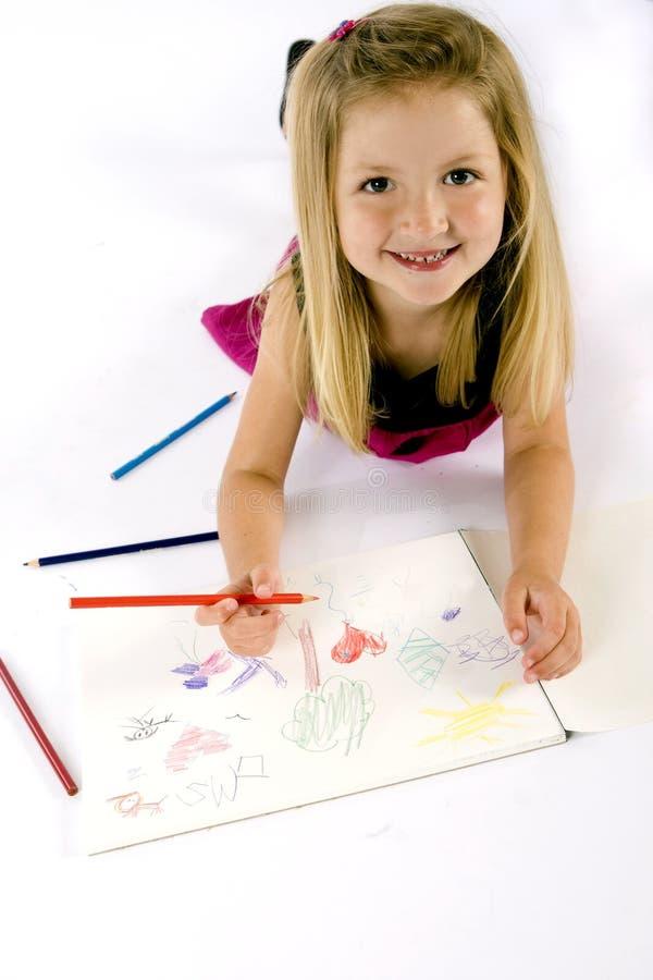 девушка чертежа стоковые фото