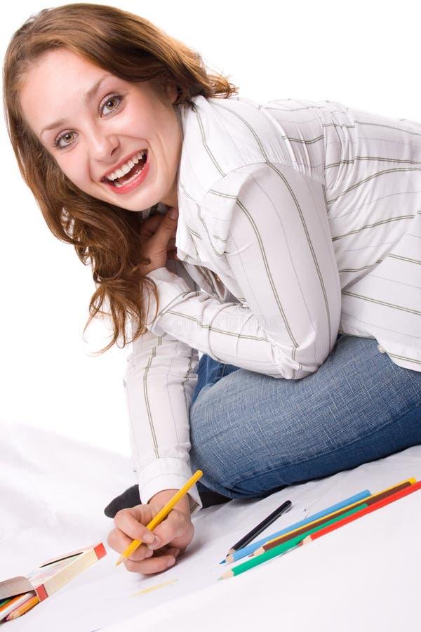 девушка чертежа 2 красивейшая crayons стоковые фотографии rf