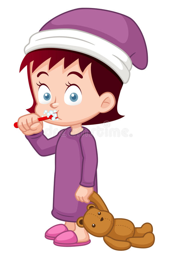 Девушка чистя ее зубы щеткой иллюстрация вектора