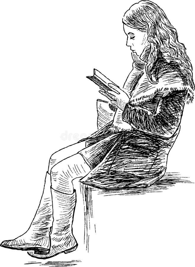 Девушка читает книгу бесплатная иллюстрация