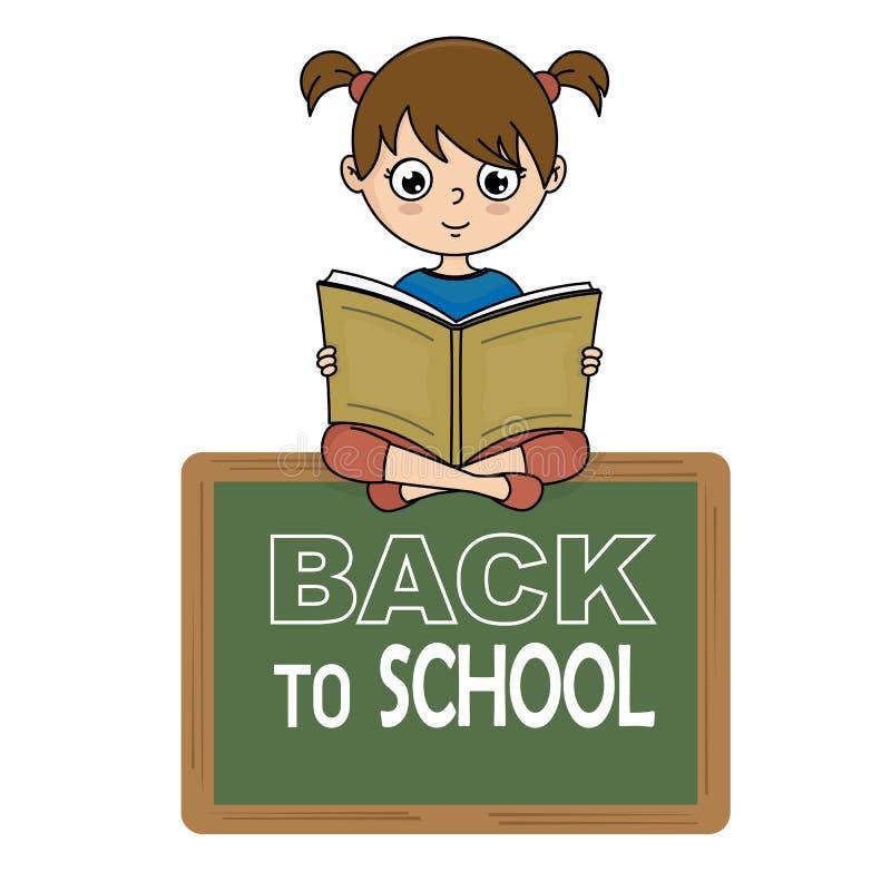Девушка читая книгу на классн классном бесплатная иллюстрация