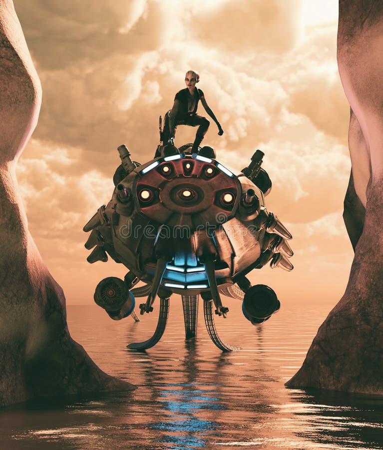 Девушка чужеземца на ее корабле для того чтобы открыть новый мир иллюстрация вектора
