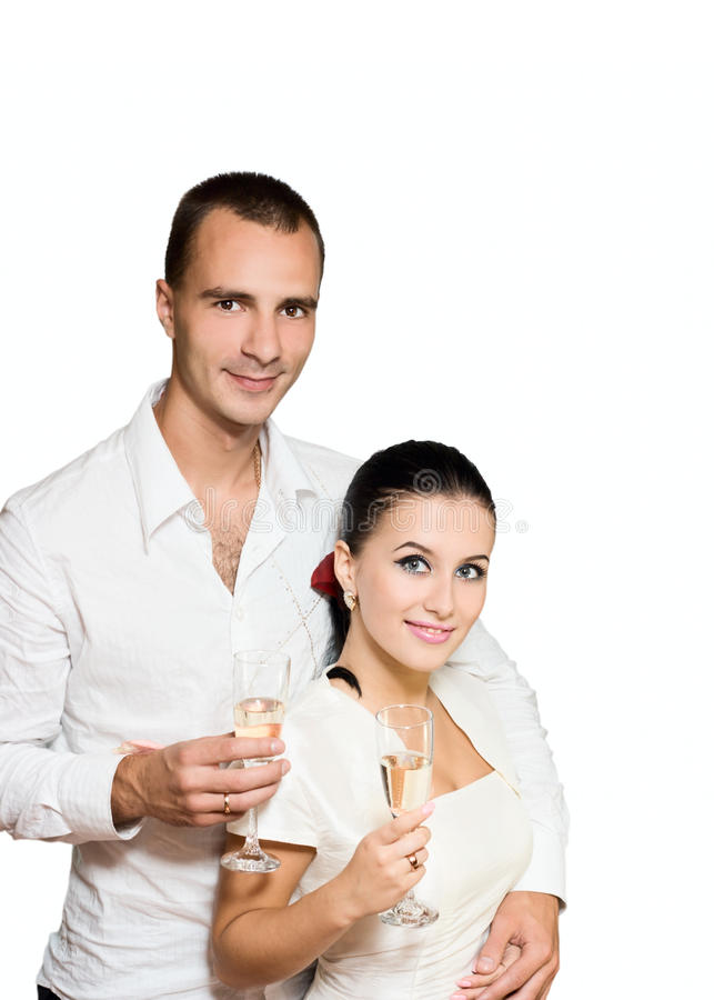 девушка шампанского вручает человека стоковые фото