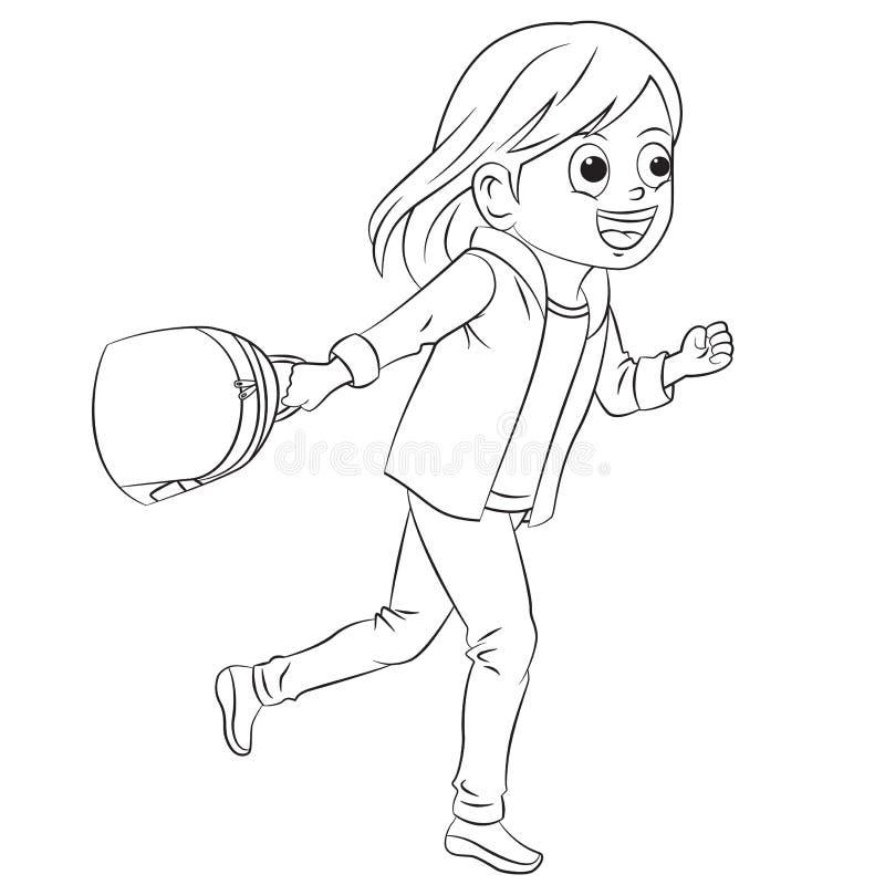 Девушка шаржа бежать и идя к школе иллюстрация вектора