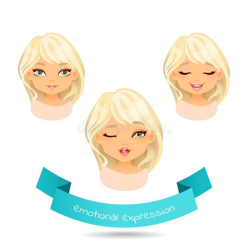 Девушка шаржа белокурая с различными выражениями эмоции иллюстрация штока